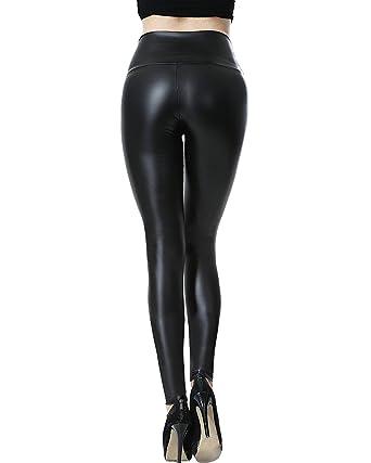 Femmes Stretchy Faux PU Leggings en cuir Pantalon Taille haute Sexy Slim  Pantalon Look synthétique 5ec449b10a8f