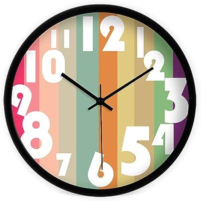 C&Q CQ Creative Modern Minimalist Colorful Color Wall Chart Living Room Personality Simple and Quiet Quartz Clock Wall Clock (Color : Black)