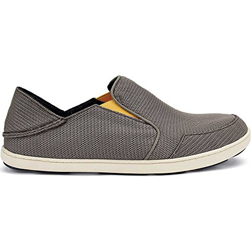 OLUKAI Men's Nohea Mesh Slip-On Shoes, Rock/Canoe, 10 M US