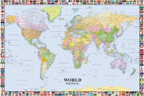 Poster Maxi Educacional PLASTIFICADO. Mapa Político del Mundo en INGLES, incluye banderas de los países. Medidas aprox. 91,5 x 61 cm.: Amazon.es: Hogar
