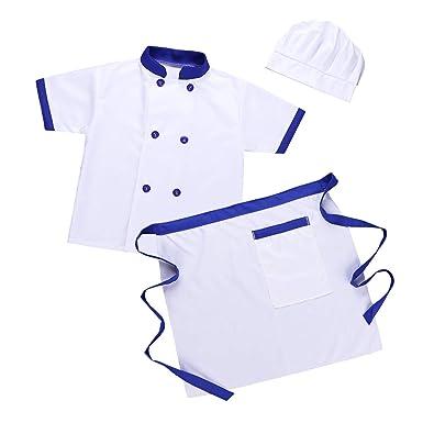 iiniim Unisex Niño Niña Disfraz Chef Cocinero Traje Blanco Manga Corta Conjunto Camiseta Delantal Sombrero para Halloween Cosplay Party Costume Ropa ...