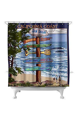 Lantern Press San Diego, California - Destinations Sign 31777 (74x74 Polyester Shower Curtain)