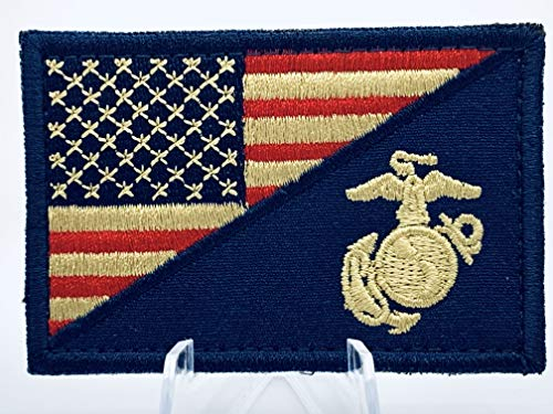 (United States Marine Corps USMC & American Flag Patch in Rustic Colors)