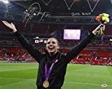 Alex Morgan Autographed 16x20 Team USA with Gold Medal Photo- PSA/DNA Auth