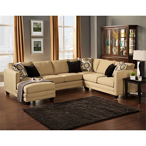 Furniture of America Opitzi Modern Sectional in Willow
