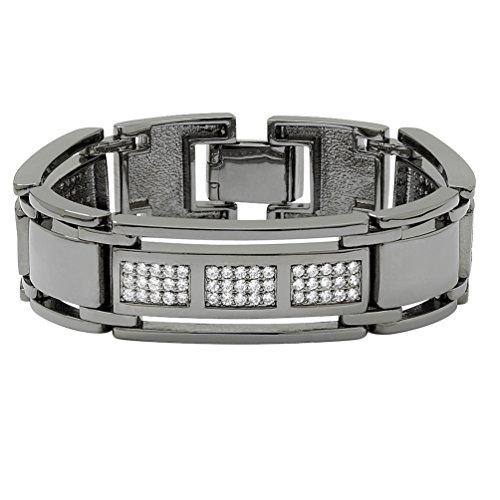 Palm Beach Jewelry Men's Round White Cubic Zirconia Black Rhodium-Plated Bar-Link Bracelet 8.5