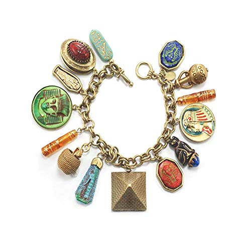 Sweet Romance Ancient Egyptian Charm Bracelet, King TUT Pharoah Bracelet, Egyptian Jewelry, Hieroglyphics, Eye of Horus, Eye of Ra, Cleopatra Costume Jewelry -