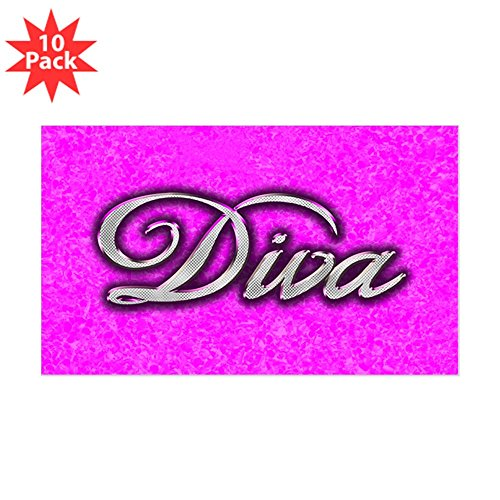 Sticker (Rectangle) (10 Pack) Pink Diva Princess by Royal Lion