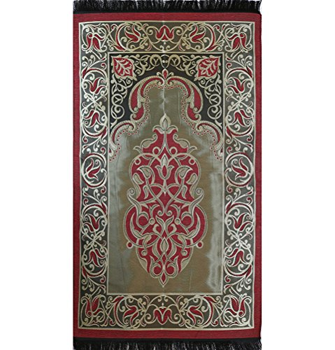 Prayer Mat - VERY THIN Islamic Namaz Sajadah Janamaz Taffeta Red by Modefa