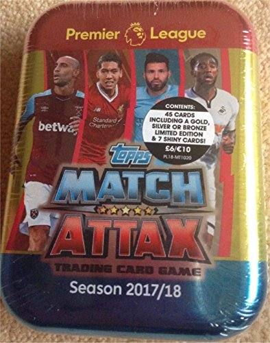 (2017 / 2018 Topps Match Attax English Premier League Soccer Card Collectors Tin With 45 Cards Including a Limited Edition Card and 7 Special Shiny Cards. USA Seller.)