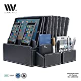 MobileVision 10-Port Charging Station Executive PU Black Leather PLUS two Caddy Add On Compartments for smartphones tablets pens keys remotes & more