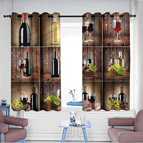 VIVIDX Window Blackout Curtains,Wine,Grapes Meat Drink Collage,Grommet Curtains for Bedroom,W55x39L