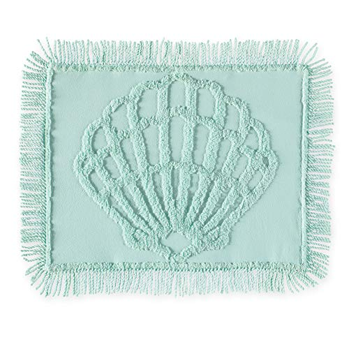 Collections Etc Aqua Shell Design Chenille Pillow Sham with Fringe Border - Coastal Bedroom Décor, Aqua, Sham ()