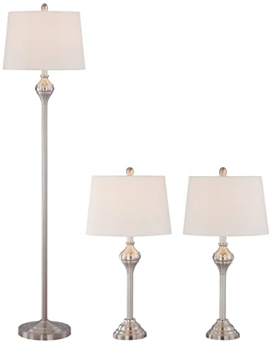 Mason brushed steel 3 piece floor and table lamp set