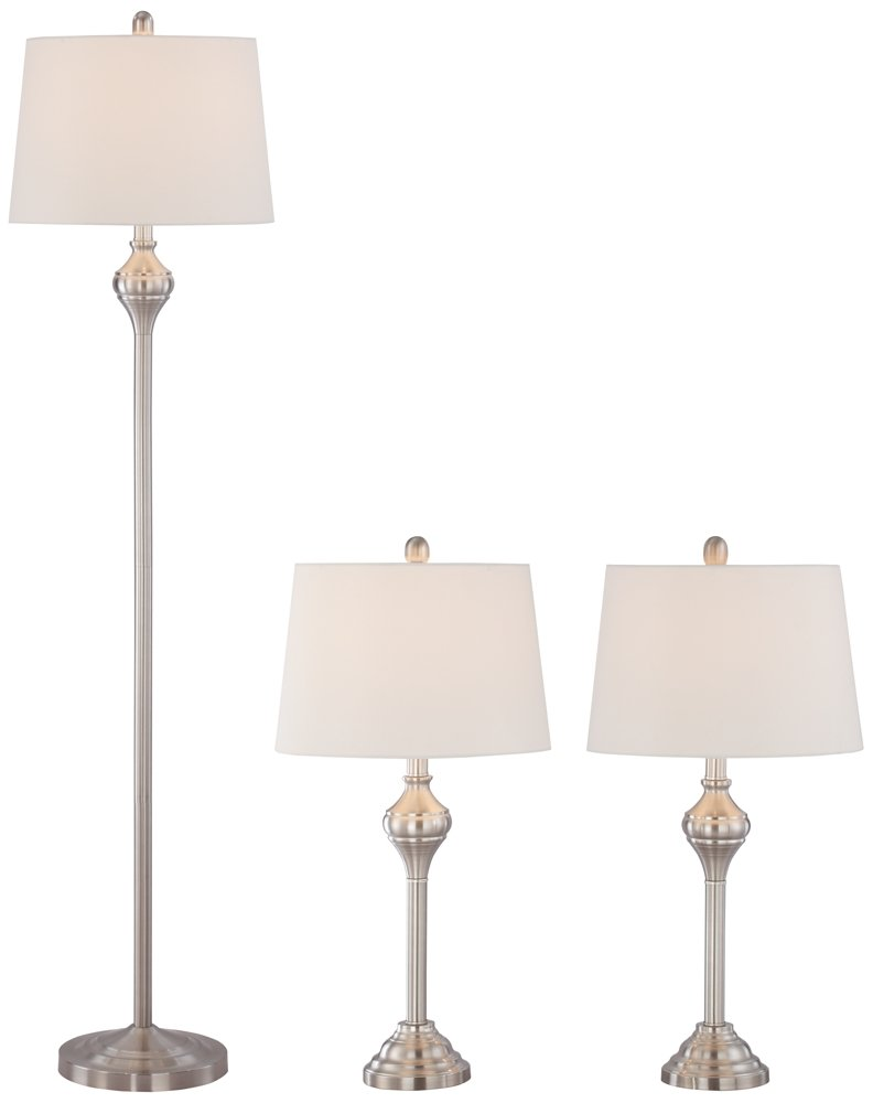 Mason Brushed Steel 3-Piece Floor and Table Lamp Set