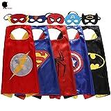 Keistore Cape and Mask Bracelet Set of 5 Superhero Dressing Up Costumes for Kid