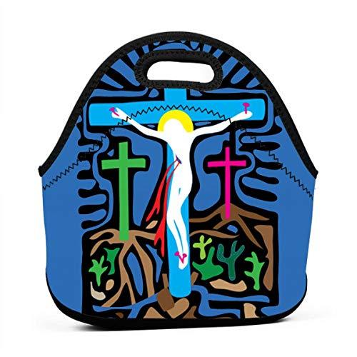Golgotha Cross Insulated Neoprene Portable Handbag Lunch Box Food Carry Case Protector - Golgotha Cross