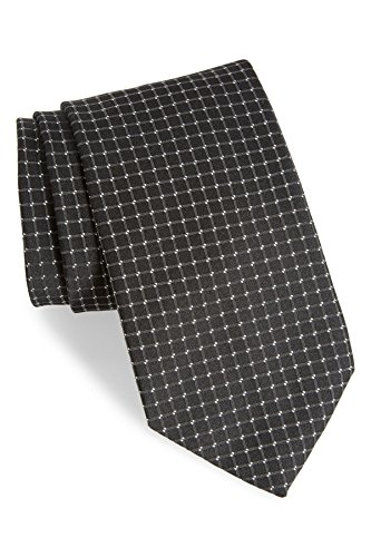 Boss Hugo Boss Grid Woven Italian Silk Tie, Black 50303863