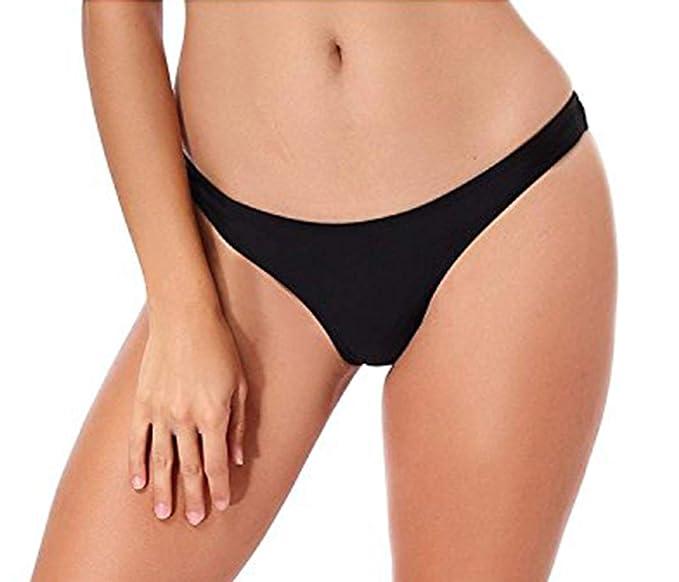 fd4c79965fec7 Amazon.com  Bikini Bottoms Sexy Thong Beachwear V Cheeky Ruched Ruffle  Swimsuits for Women  Clothing