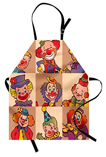 Lunarable Circus Apron, Funny Clowns Illustration Print Entertaining Childhood Joke Enjoyment Theme, Unisex Kitchen Bib Apron with Adjustable Neck for Cooking Baking Gardening, Coral Red -