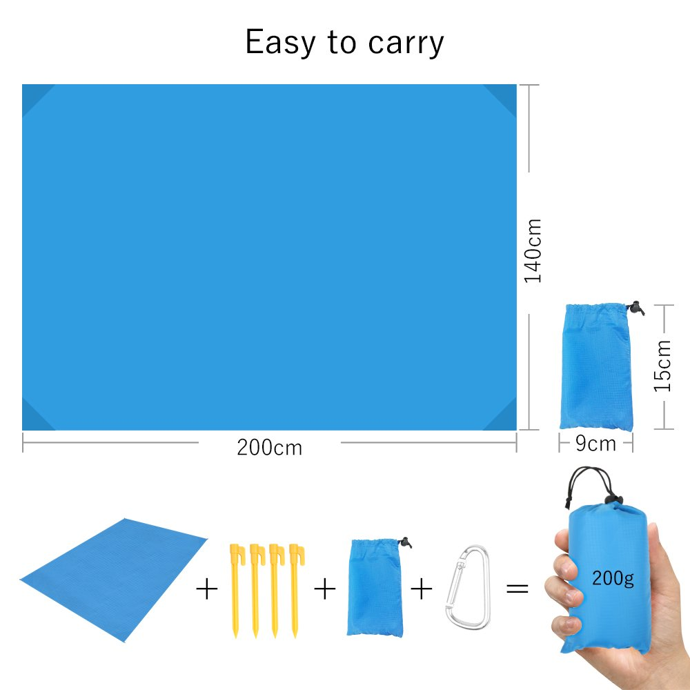 140 x 200 Pocket Picnic Blanket Lightweight Large Beach Picnic Mat with ABS Tent Pegs Carrying Bag for Camping Hiking Travel Outdoor Activities Blue LAMA Waterproof Picnic Blanket
