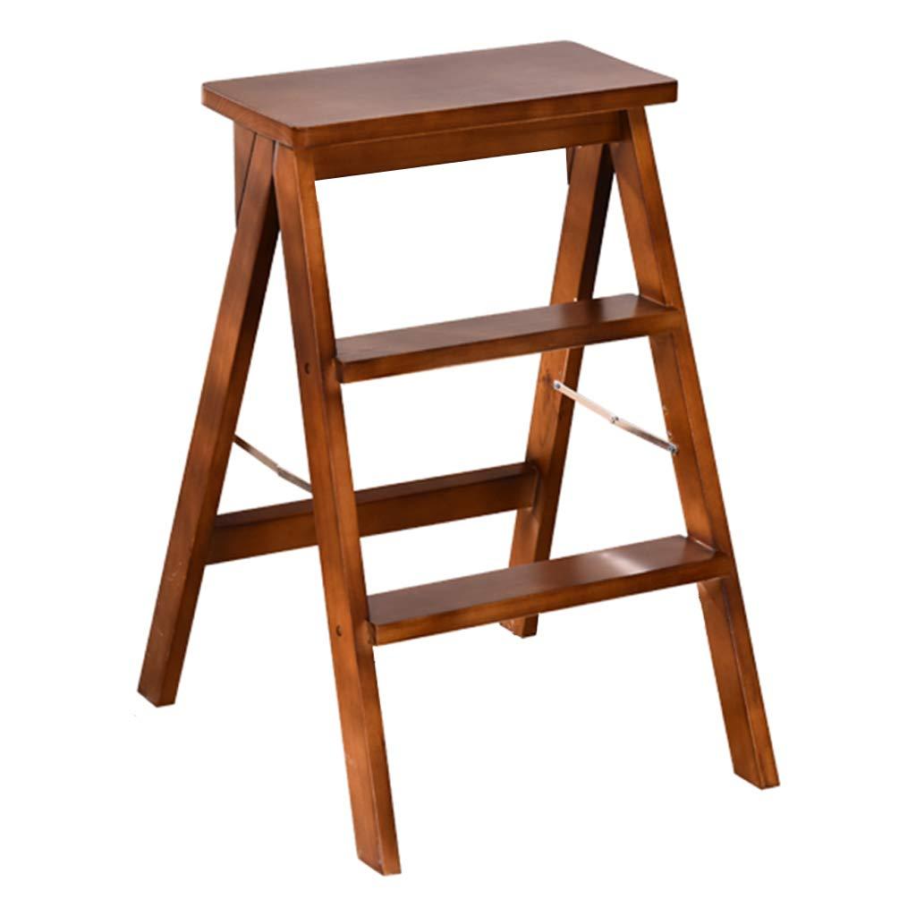 3トレッドウッドステップラダースツール 大人用階段チェア 多機能折りたたみ脚立 屋内ポータブル 家庭用キッチンライブラリー用 、褐色 B07QJVSGCG