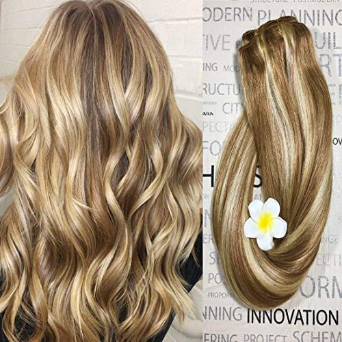 Clip in Hair Extensions Human Hair Dirty Blonde Highlights 12/613 20 inch Balayage Ombre Clip on for Fine Hair Full Head Silky Straight Soft Remy ()