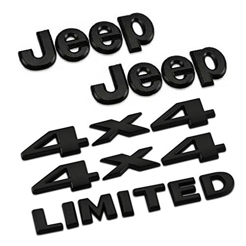5pcs Set AM13 Black Car Styling Accessories Chromed Emblem Badge Decal Sticker JEEP 4 x 4 LIMITED For Cherokee Patriot Wrangler Compass Benzy