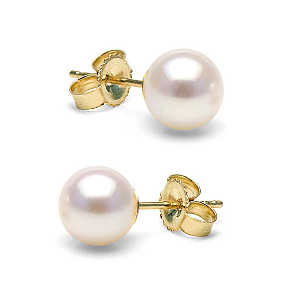 14K Cultured White Japanese Akoya Pearl Stud Earrings, AAA Quality (yellow-gold, 6.5-7.0mm)