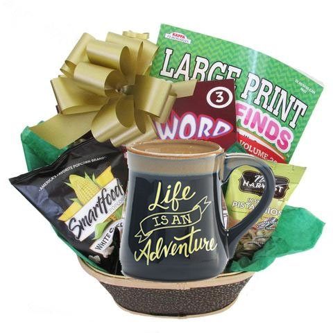 Birthday Gift Basket for Men or Women because Life Is An Adventure Arrives Wrapped and Ready to Give by Gifts Fulfilled (Retirement Baskets)