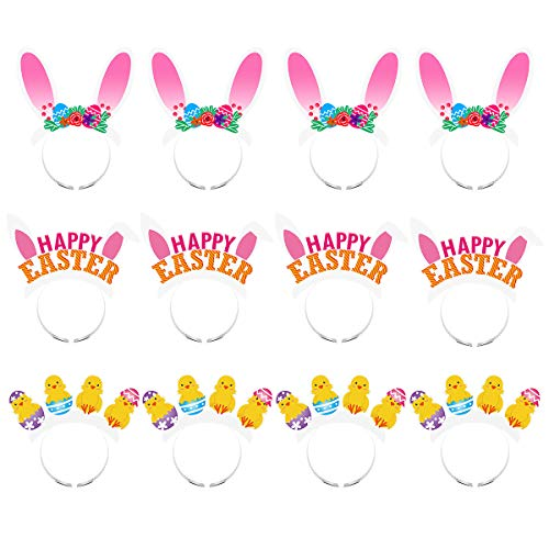 PRETYZOOM Easter Day Bunny Ears Headband Chick Hair Loop Happy Easter Headwear Party Favors for Girl Kid Baby Shower [12 Pack]