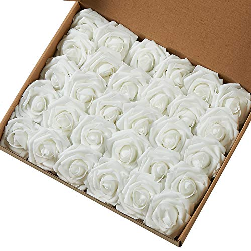 Marry Acting Artificial Flower Rose, 30pcs Real Touch Artificial Roses for DIY Bouquets Wedding Party Baby Shower Home Decor (White)
