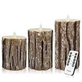 Flameless Candles LED Flickering Light Pillar Real Drip Pillar Wax for bark Wedding and Decoration Set of 3