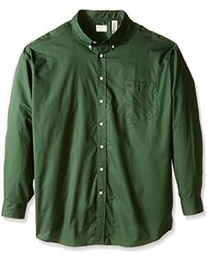 Men's Big-Tall Long Sleeve Button Down Collar Windowpane Shirt