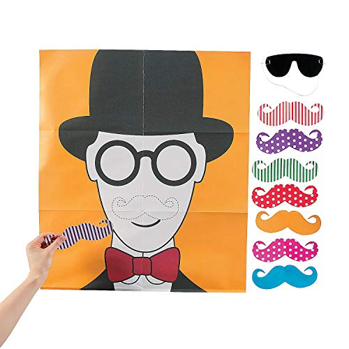 Fun Express - Pin The Flashy Stache Game for Party - Toys - Games - Pin The & Bulls Eye Games - Party - 2 Pieces