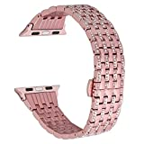 Stylish Crystal Rhinestone Diamond Stainless Steel Loop Replacement Watch Band Bracelet Strap Link with Folding Buckle Compatible for Apple Watch Series 38mm 3 2 1 (Rose Gold)