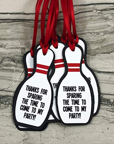 Bowling Pin Party Favor Gift Tags - Set of 12 -