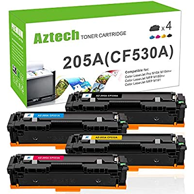 Aztech Compatible Toner Cartridge Replacement for 205A CF530A CF531A CF532A CF533A for Color LaserJet Pro MFP M181FW M180N M180NW Toner MFP M181FW M180N M180NW M180 M154A M154NW