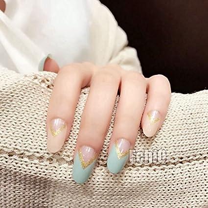 echiq verde Beige francés uñas postizas V forma y dorado Oval cabeza completa Artificial Falso uñas
