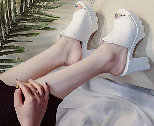 denso Donna alto con fondo Tacco spesso Piscina AWXJX Bianco Infradito EIwBqCxX