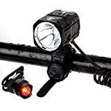 BYBOO Waterproof Bike Bicycle Cycling Front Head Lights Set USB Rechargeable Cree XM-L2 LED Headlight Headlamp with Bike Tail Light