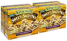 Nature Valley Granola Bars, Sweet and Salty Nut, Roasted Mixed Nut, 6 Bars - 1.2 oz (Pack of 6)