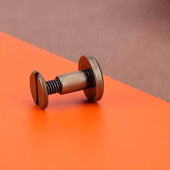 lLibro 5mm, Oro Cinture Lavorazione del Cuoio Portafoglio Demiawaking 20pcs Rivetti in Rame Massiccio Viti Piatta Artigianale in Pelle Rivetti Accessori DIY per Album