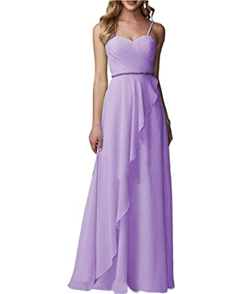 c1d65c82bd24 Ever-Beauty Womens Long Sweetheart Chiffon Bridesmaid Dress Sleeveless  Ruched Aline Evening Formal Gown Lavender