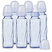 Evenflo Feeding Glass Premium Proflo Vented Plus Bottles for Baby, Infant and Newborn - Helps Reduce Colic - Lavender, 8 Ounce (Pack of 6)