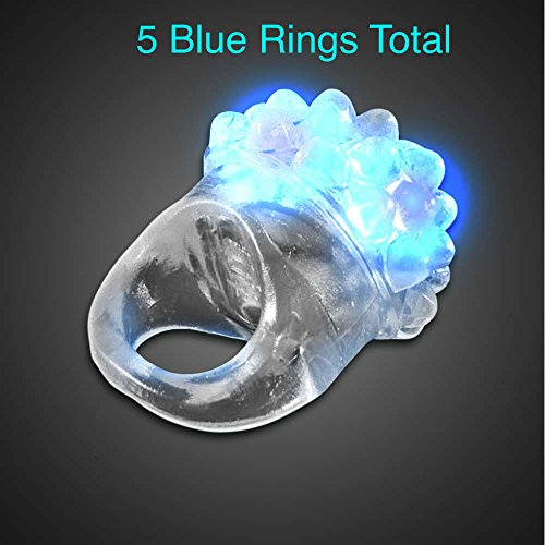 Exclusive! Light Up Flashing Clear Bumpy Jelly Ring - These are Available in 5 Colors! Red, Green, Blue, White, and Pink! to Match Any Occasion or Event! (5 Blue Rings)]()