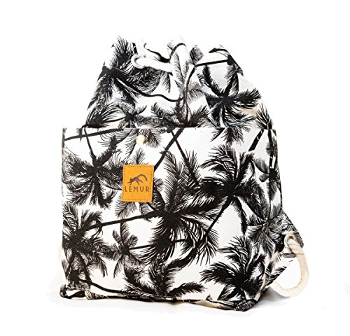 Canvas Drawstring Bucket Bag - Shoulder Day Bag, Backpack by Lemur Bags (Tropical Palm)