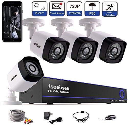 ISEEUSEE Security Camera 4CH 1080N Surveillance DVR System and (4) 720P 2.0MP HD-TVI Weatherproof CCTV Cameras, with Remote Access, Motion Detection-NO HDD by ISEEUSEE