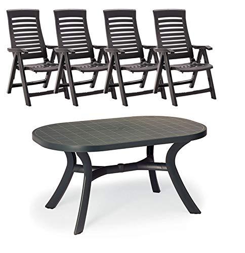 Beauty.Scouts Gartenmöbel-Set 4X Klappsessel + Tisch oval 145x95x72cm in anthrazit Alicante Sitzgruppe Kunststoff verstellbare Hochlehner wetterbestädnig robust