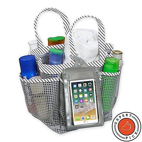 Mesh Shower Tote in Grey Stripe - College Must Have